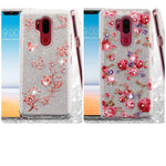 LG G7 Thin Q, Vintage Rose Bush Full Glitter Hybrid Phone Case (with Diamonds)(with Package)