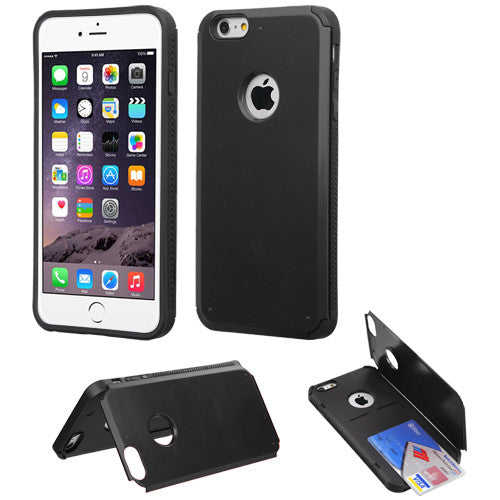 Black Inverse Advanced Armor Stand Protector Cover with Card Slot for iPhone 6/6S and iPhone 6 Plus/6S Plus - JandJCases