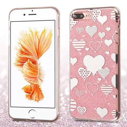 iPhone 7 and 7 Plus Hearts/Pink Glitter Clear Gummy Cover - JandJCases