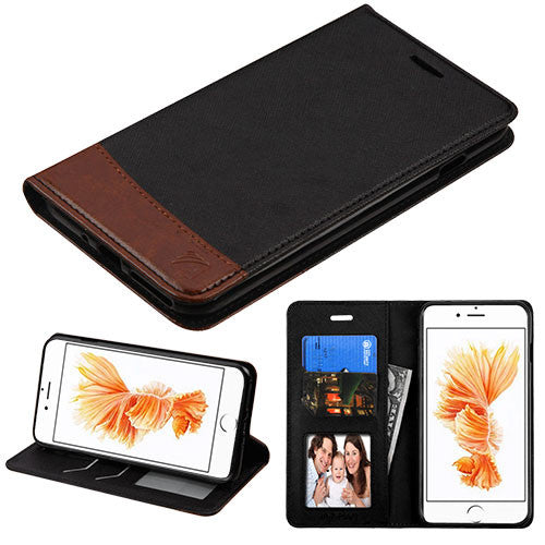 Black/Brown Wallet (with card slot) for iPhone 7 (4.7) - JandJCases