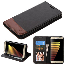 Samsung Galaxy Note 7 Black/Brown MyJacket wallet (with card slot) - JandJCases