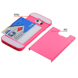 Hot Pink/White TPU Card Slot Phone Protector Cover for Samsung Galaxy S6 Edge - JandJCases