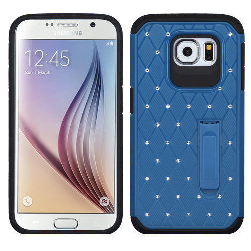 Asmyna Blue/Black Luxurious Lattice Elite Dazzling Stand Hybrid Protector Cover with Diamonds for Samsung Galaxy S6 (G920) - JandJCases