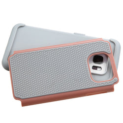 Samsung Galaxy S7 Edge Dots Rose Gold/Gray Total Defense Protector Cover - JandJCases