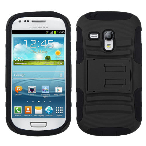 Black/Black Advanced Stand Protector Cover (G730A) for Samsung Galaxy S III Mini - JandJCases