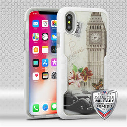 iPhone X, Big Ben (Natural Ivory White)/Transparent Clear TUFF Contempo Hybrid Protector Cover (with Package) - JAndJCases