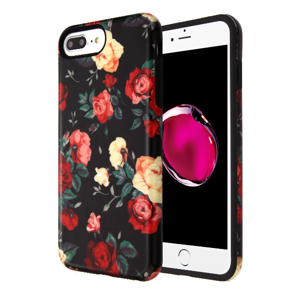 iPhone 7 Plus/8 Plus, Red Roses/Black Fuse Hybrid Phone Case (with Package)