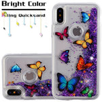 iPhone X Butterfly Dancing/Purple Quicksand Glitter Hybrid Phone Case - JandJCases