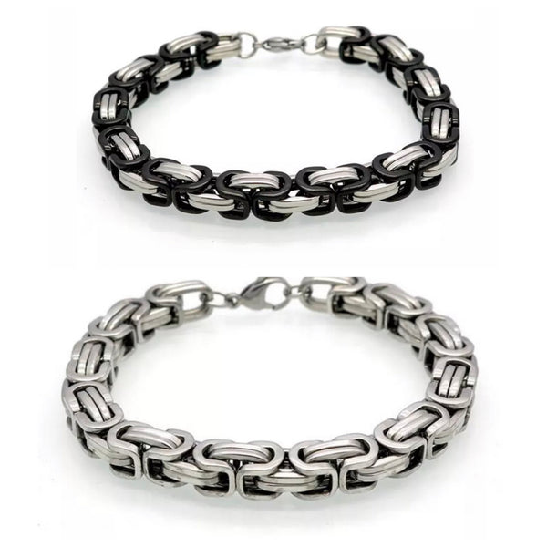 Men Stainless Steel Chain Link Clasp Bracelet Jewelry Accessory