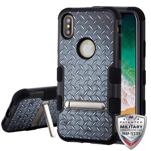 iPhone X, Aluminum Treads TUFF Hybrid Case Military Grade w/ Magnetic Metal Stand - JandJCases