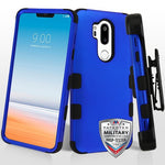 LG G7 Thin Q, Titanium Dark Blue/Black TUFF Hybrid Phone Case [Military-Grade Certified](with Black Horizontal Holster)
