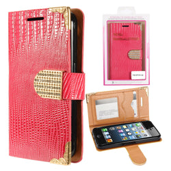 iPhone 5, 5S, SE Horizontal Flap Pouch w/ Credit Card Pockets - Hot Pink - JandJCases