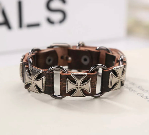 Men Stainless Steel Genuine Leather Bracelet Jewelry Accessory