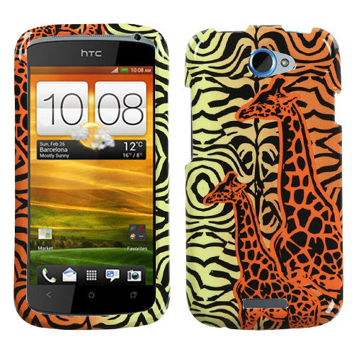HTC One S Orange Giraffe Pair Phone Protector Cover - JandJCases