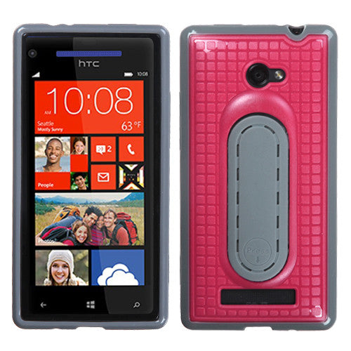HTC Windows Phone 8X, Hot Pink Snap Tail Phone Case With Stand - JandJCases