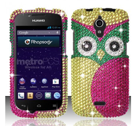 Huawei Vitria H882L (MetroPCS) Full Diamond Design Cover - Owl - JandJCases