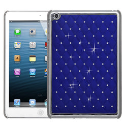 iPad Mini 2 Dark Blue Silver Plating Back Protector Cover with Diamonds  (extra item not included) - JandJCases