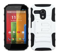 Motorola Moto G Advanced Armor Stand Protector Cover - White / Black - JandJCases