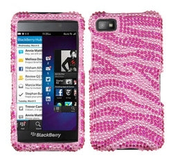 Blackberry Z10 Zebra Skin Diamante Protector Cover  Pink/Hot Pink - JandJCases