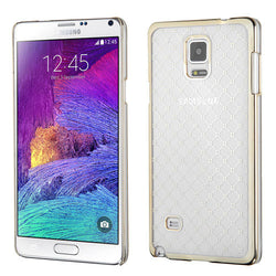 Galaxy Note 4 T-Clear Plaid Cross Back Phone Case with Gold Plating - JandJCases
