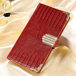 Luxury Leather Wallet Case for S7 Edge in Red - JandJCases