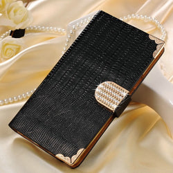 Luxury Leather Wallet Case for Samsung Galaxy S7 in Black - JandJCases