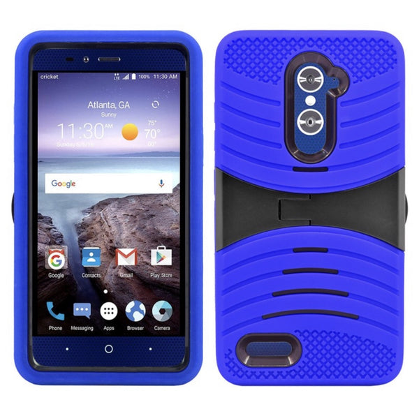 ZTE GRAND X MAX 2 / Z988 / ZMAX PRO / KIRK HYBRID SILICONE CASE COVER STAND BLUE - JandJCases