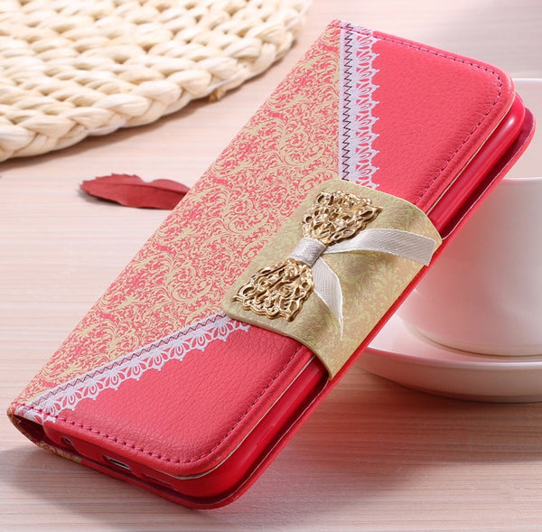 Galaxy S6 Lace Luxury Leather Wallet Case with Gold Chain - JandJCases