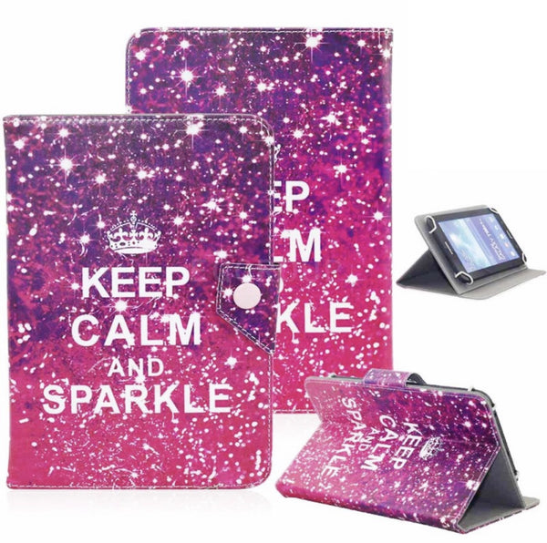 UNIVERSAL TABLET PU LEATHER FOLIO 360 DEGREE ROTATING STAND CASE (Keep Calm and Sparkle)