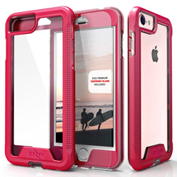 iPhone 7- Zizo ION Single Layered Hybrid Cover w/Tempered Glass - Pink / Clear