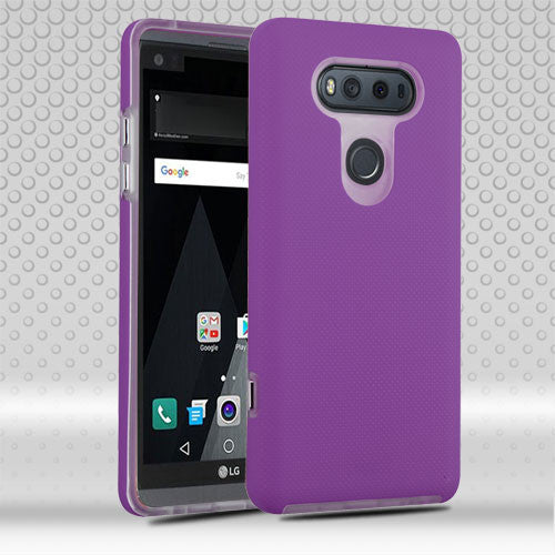 MYBAT Electric Purple Dots Textured/Clear Fusion Protector Cover For LG V20