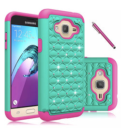 Galaxy J3, J3V (2016) Shock Absorbing Dual Layer Hybrid Case Green/Hot Pink