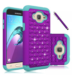 Galaxy J3, J3V (2016) Shock Absorbing Dual Layer Hybrid Case Purple/Teal - JAndJCases