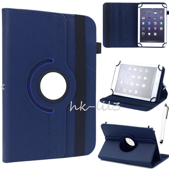 "Universal/NuVision 7"" 7.85"" 8"" 10.1"" Tablet Rotating Leather Case"