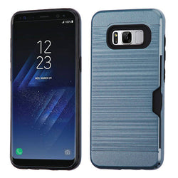 Galaxy S8 Ink Blue/Black Brushed Hybrid Phone Case (with Card Wallet) - JandJCases