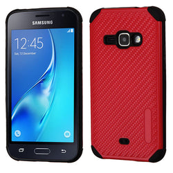Galaxy J7 2015 Red Mat Weave/Black Hybrid Protector Cover