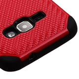 Galaxy J1 (2016) Red Mat Weave/Black Hybrid Protector Cover