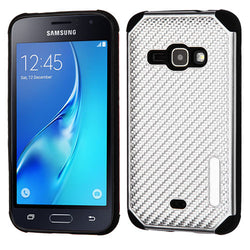 Galaxy J1 (2016) Silver Mat Weave/Black Hybrid Protector Cover