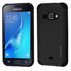 Galaxy J1 (2016) Black Mat Weave/Black Hybrid Protector Cover