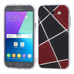Galaxy J3 2017 (J327P) Denim Irregular Geometric Design Candy Skin Cover