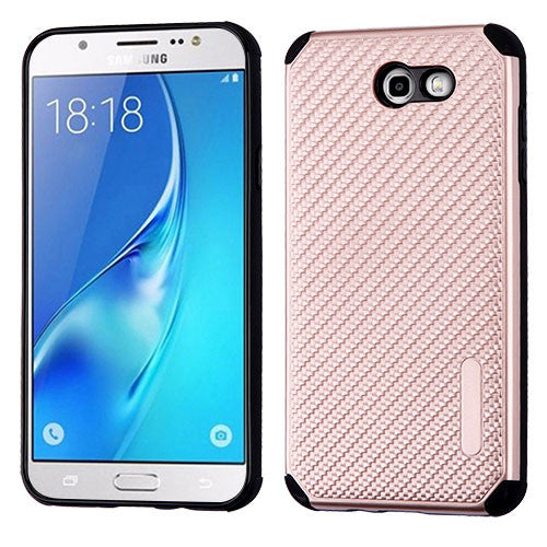 Galaxy J7 2017 (J727) Rose Gold Mat Weave/Black Hybrid Protector Cover