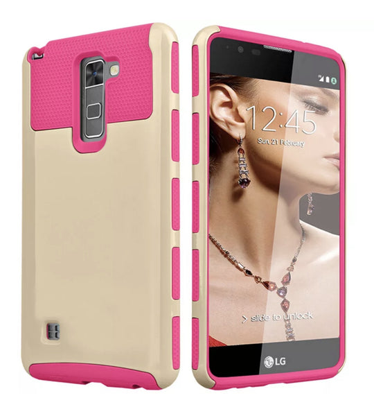 LG G Stylo 2/Stylus 2 Hot Pink/Gold Shockproof Hybrid Case