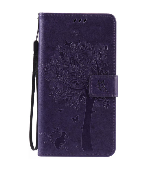 LG K6 (X Power) LS755 K450 Purple Design Wallet Case with Card Slots