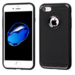 iPhone 7/7 Plus Black Frame/Black Leather Texture Hybrid Protector Cover