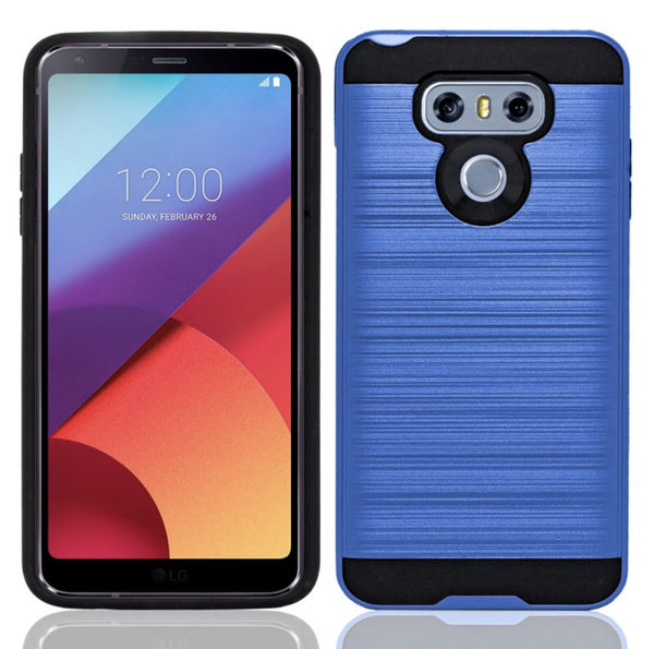 LG G6 Hybrid Metal Brushed Shockproof Tough Case -Blue