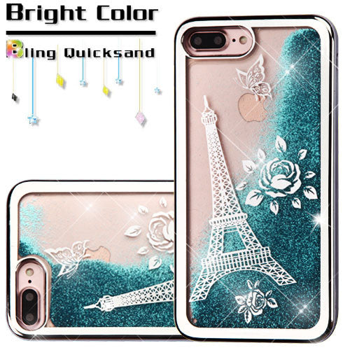 iPhone 7/7 Plus Silver Electroplating/Eiffel Tower/Blue Quicksand Glitter Hybrid Protector Cover