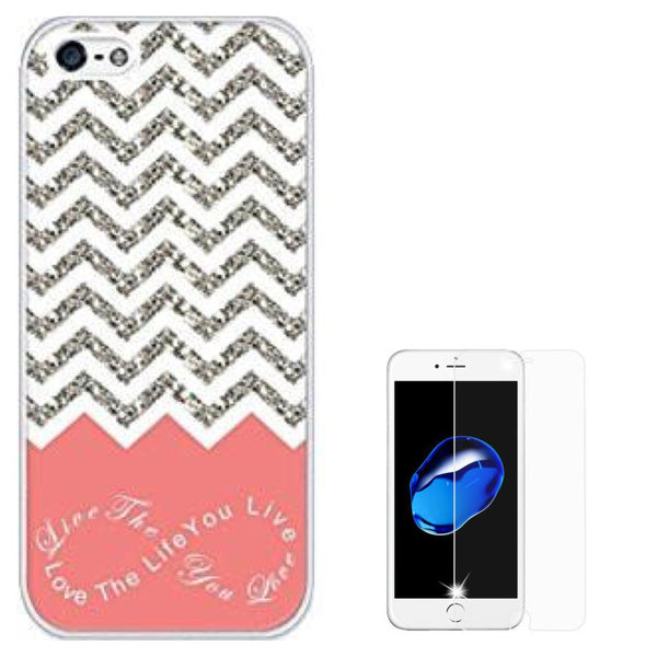 iPhone 5/5S/SE, Chevron Pattern Grey/White Phone Case - JandJCases