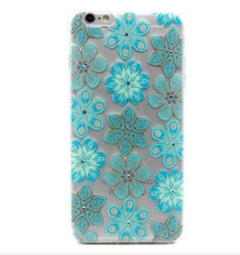 iPhone 6 Plus Diamond Turquoise Flower Pattern Silicone Phone Case - JandJCases