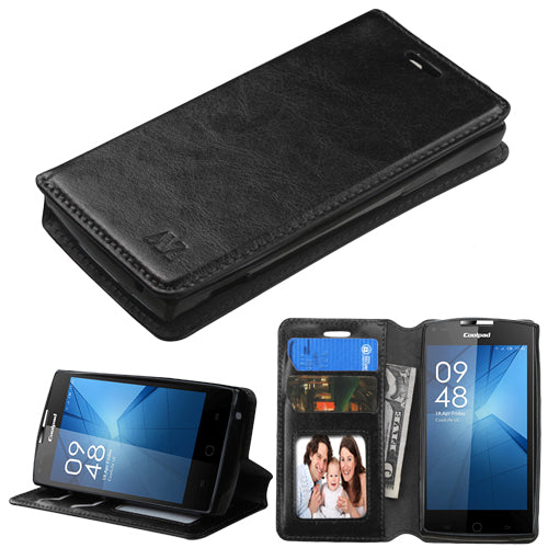 Coolpad 3320A, (Rogue), MYBAT Black MyJacket Wallet Case - JandJCases