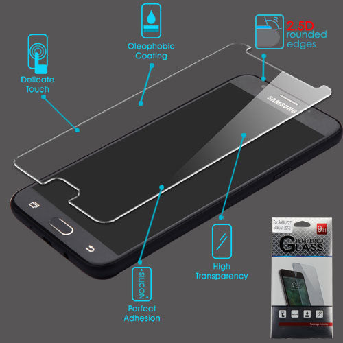 Galaxy J7 (2016), (2017), J727, G610F J7 Prime, J7 Perx, On 7, J7 Sky Pro,  J7 V, Galaxy Halo, Tempered Glass Screen Protector - JandJCases